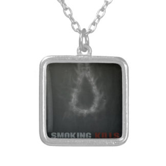 Smoking Kills Hanging Rope Silver Plated Necklace