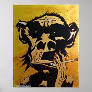 Smoking Monkey Poster by NJPunks