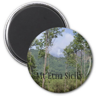 Smoking Mt Etna Through the Trees 2 Inch Round Magnet