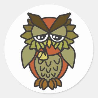 Smoking Owl 2.0 Brown Classic Round Sticker