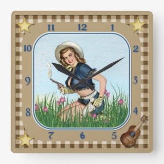 Smoking Pistol Pin Up Cowgirl Clock