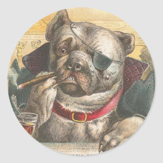 Smoking Pitbull Classic Round Sticker
