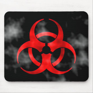 Smoking Red Biohazard Symbol Mousepad