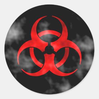 Smoking Red Biohazard Symbol Round Sticker