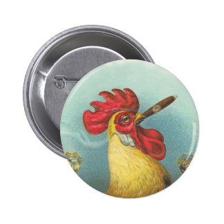 Smoking Rooster 2 Inch Round Button