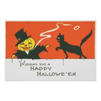 Smoking Scarecrow Jack O' Lantern Black Cat Photo Print