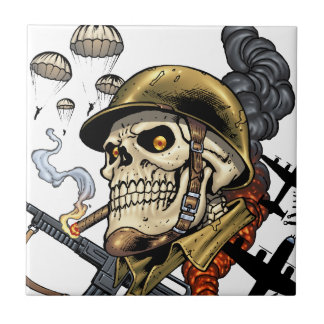 Smoking Skull with Helmet, Airplanes and Bombs Tile