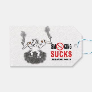 SMOKING SUCKS STOP PACK OF GIFT TAGS