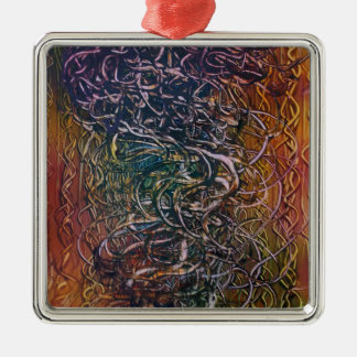 Smoking volcano metal ornament