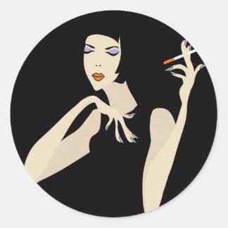 Smoking Woman Classic Round Sticker