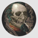 Smoking Zombie Man Stoner Bizarre Vintage Art Round Sticker