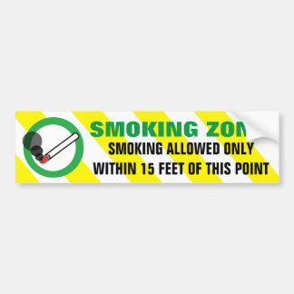 Smoking Zone Allowed within 15 Feet Warning Sign Bumper Sticker