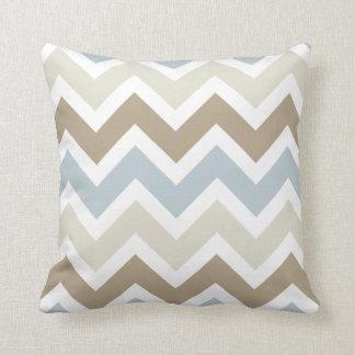 Smoky Blue Gray, Tan, and Brown Chevron Pattern Throw Pillow