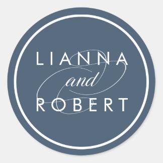 Smoky Blue Personalized Wedding Classic Round Sticker