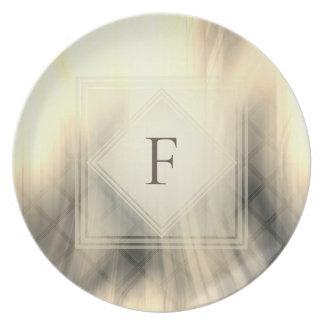 Smoky & Faded Abstract Monogram | Melamine Plate