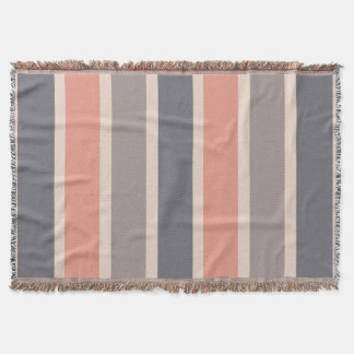 Smoky Gray Stripes with Coral Accent Throw Blanket