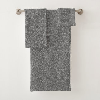 Smoky Grey Block Maze Abstract Pathway Art Bath Towel Set