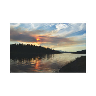 Smoky Lake Sunset Wrapped Canvas Print