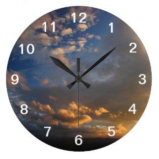 Smoky Mountain Sunset Large Clock
