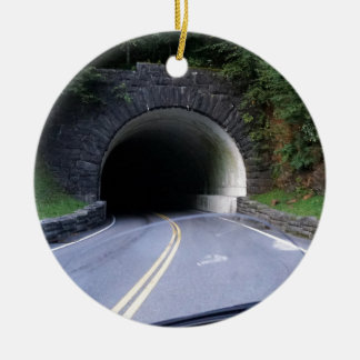 Smoky Mountain Tunnel Round Ceramic Ornament