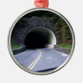 Smoky Mountain Tunnel Silver-Colored Round Ornament
