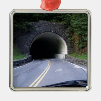 Smoky Mountain Tunnel Silver-Colored Square Ornament