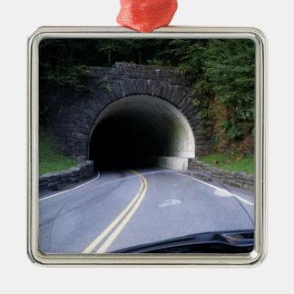 Smoky Mountain Tunnel Silver-Colored Square Ornament
