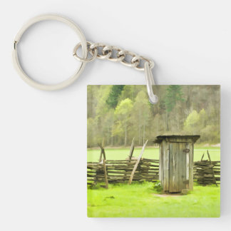 Smoky Mountains Outhouse Travel Photography Keychain