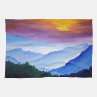 smoky mtn sunset kitchen towel