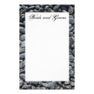Smooth Black Pebbles Wedding Stationery
