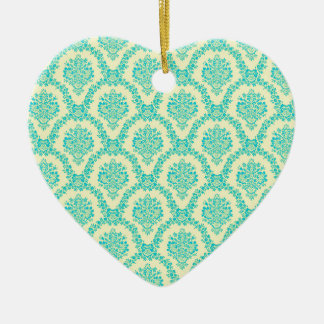 Smooth celestial and yellow turkish Damascus Ceramic Heart Ornament