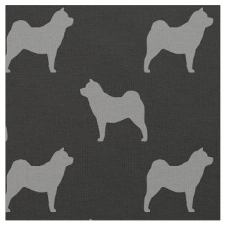 Smooth Chow Chow Silhouettes Pattern Fabric