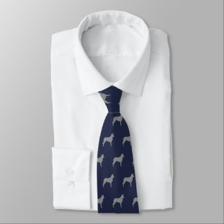 Smooth Collie Silhouettes Pattern Navy Blue Tie