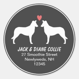 Smooth Collie Silhouettes Return Address Classic Round Sticker
