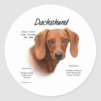 Smooth Dachshund Meet the Breed - Customized Classic Round Sticker