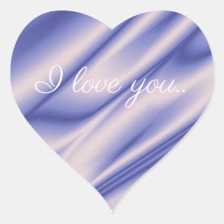 Smooth elegant violet silk texture .I love you. Heart Sticker