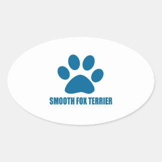 SMOOTH FOX TERRIER DOG DESIGNS OVAL STICKER