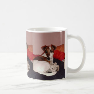 smooth fox terrier laying coffee mug