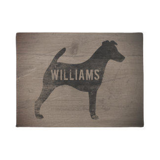 Smooth Fox Terrier Silhouette Personalized Doormat