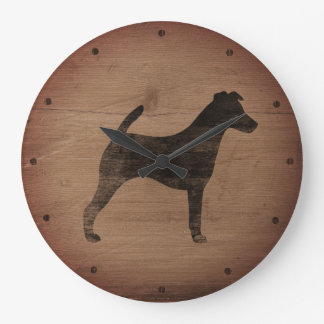 Smooth Fox Terrier Silhouette Rustic Large Clock