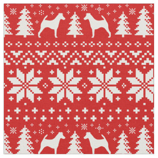 Smooth Fox Terrier Silhouettes Christmas Pattern Fabric