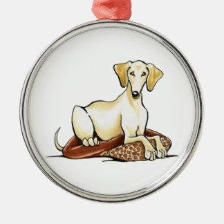 Smooth Gold Saluki Lester Silver-Colored Round Ornament