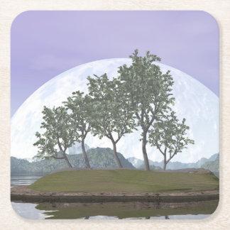 Smooth leaved elm bonsai tree - 3D render Square Paper Coaster
