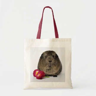 Smooth, Lemon Agouti Guinea Pig with Pink Flowers Tote Bag