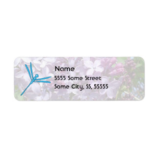Smooth Light Blue Dragonfly and Purple Lilacs Return Address Label