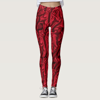 Smooth red colored printed leggings