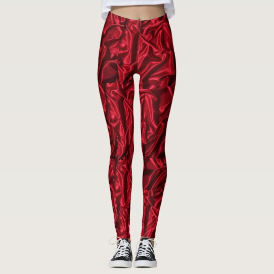 Smooth red coloured printed leggings
