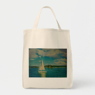 Smooth Sailing print on grocery tote