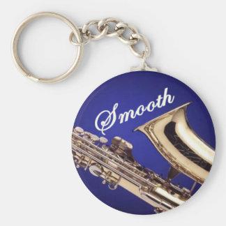 Smooth Saxophone Basic Round Button Keychain