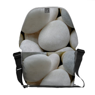 Smooth White Round Zen Pebbles Stone Photo Bag Commuter Bags